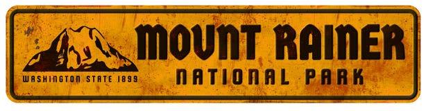 Mount Rainer Washington National Park Sign Grunge Retro Vintage Half Dome. Metal Vacation Camping Hiking Rock Climbing Lodge Ahwahnee Valley vector illustration