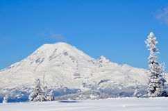 Mount Rainier as seen from the top of White Pass Ski Area, Washington State royalty free stock photography