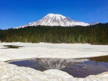 Mount Rainier. Beautiful day at the Mount Rainier National Park Stock Photo