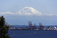 Mount Rainier with clouds and port Royalty Free Stock Photo