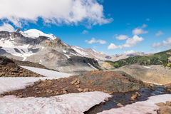 Mount Rainier, Emmons glacier and melting snow. Mount Rainier, Emmons glacier, mountains and melting snow, USA stock photography