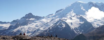 Mount Rainier Glacier views on the Wonderland Trail near Seattle, USA.  stock photo