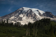 Mount Rainier lit by the moon at night Stock Images
