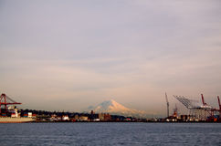 Mount Rainier and Port of Seattle. Mount Rainier towers behind the Port of Seattle at sunset Stock Photography