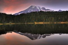 Mount Rainier with reflection Royalty Free Stock Photo