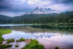 Mount Rainier Reflection Lake Landscape Royalty Free Stock Images