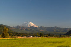 Mount Rainier with Rural Farm Royalty Free Stock Photography