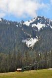 Mount Rainier with ski lift. And snowcaps Royalty Free Stock Image
