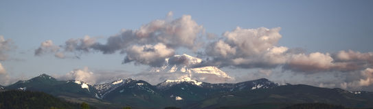 Mount Rainier at Sunset. Near Enumclaw, Washington Stock Photo