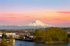 Mount Rainier from Tacoma Marina Stock Photo