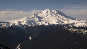 Mount Rainier View. A panorama view of Mt. Rainier and its surrounding peaks. Originally known as Mt. Tahoma, it is the tallest mountain in the Cascade mountain royalty free stock images
