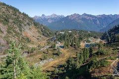 Mount range and lakes chain at autumn Stock Photos