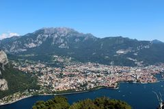 Mount Resegone and city of Lecco northern Italy aerial view between mountains and lake Stock Photos
