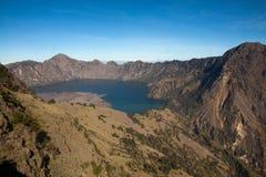 Mount Rinjani ,Indonesia, Crater Lake. Mount Rinjani, Indonesia, beautiful vulcano Crater Lake seen during a hikking trip Stock Image
