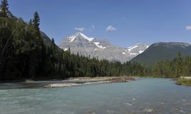 Mount Robson. In the background and Robson River in the foreground Stock Photography