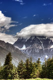 Mount Robson. Scenic view of cloudscape over Mount Robson, Rocky mountain range, Canada royalty free stock image