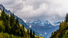 Mount Robson in the Clouds Stock Photo