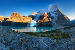 Mount Robson is the most prominent mountain in North America Rocky Mountain range; it is also the highest point. Mount Robson is the most prominent mountain in royalty free stock photo