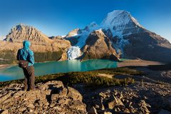 Mount Robson is the most prominent mountain in North America Rocky Mountain range; it is also the highest point. stock photo