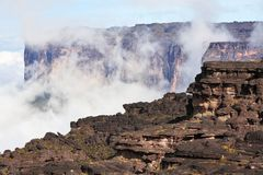 Mount Roraima landscape. With clouds background Stock Photography