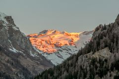 Panoramic view of the Gressoney valley at sunset in winter stock photo