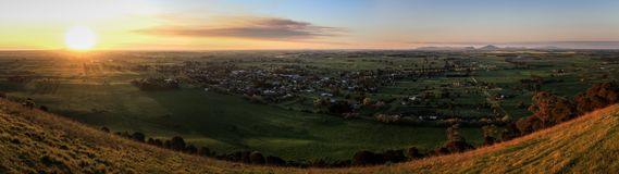 Panoramic view from Mt Rouse Lookout at sunset, Penhurst, Victoria, Australia,. Mount Rouse is an extinct volcano that lies in the charming town of Penshurst royalty free stock photo
