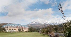 Mount Ruapehu and Chateau Tongariro Royalty Free Stock Photo