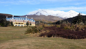 Mount Ruapehu and The Chateau in Tongariro National Park Royalty Free Stock Images