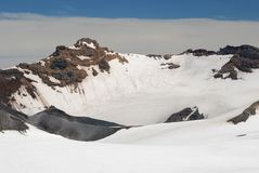 Mount Ruapehu crater covered by snow Stock Photo