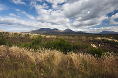 Mount Ruapehu and Mount Tongariro seen from the border of the park Royalty Free Stock Photography