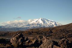 Mount Ruapehu, Tongariro national park. Active volcano covered with snow dust.Hiking in Tongariro national park. Snow everywhere. Beautiful view of the mount Royalty Free Stock Images