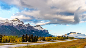 Mount Rundle along the Trans Canada Highway near Canmore Royalty Free Stock Photography