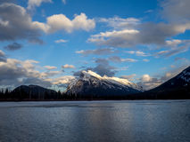 Mount Rundle, Banff Alberta. Mount Rundle reflected in the icy waters of Vermilion Lakes near Banff Alberta Canada at sunset Royalty Free Stock Photos