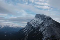 Mount Rundle, Banff National Park. The most famous mountain in Banff, Mount Rundle stands tall above the tourist town royalty free stock photo