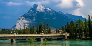 Mount rundle, bow river Royalty Free Stock Photo