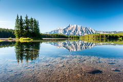 Mount Rundle from Cascade Ponds. Royalty Free Stock Photo