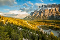Mount Rundle and the hoodoos in Banff National Park Royalty Free Stock Photography