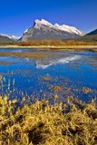 Mount Rundle Reflection in Vermilion Lake, Banff, Canadian Rocki Royalty Free Stock Photos