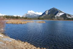 Mount Rundle in the Rockies from Vermilion Lakes Royalty Free Stock Photography