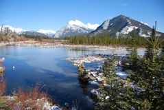 Mount Rundle in the Rockies from Vermillion Lakes. Mount Rundle by Banff in the Canadian Rockies, from Vermillion Lakes Stock Photos