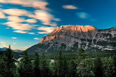 Mount Rundle sunrise. Early morning view of Mount Rundle in Banff National Park Stock Photo