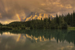 Mount Rundle Sunset Rainbow stock photos