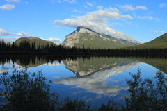 Mount Rundle and Vermilion Lakes. Evening light on Mount Rundle reflected in the Vermilion Lakes Stock Photo