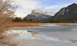 Mount Rundle and Vermilion Lakes in winter, Banff, AB Stock Photo