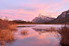 Mount Rundle and Vermilion Lakes in winter, Banff, AB Royalty Free Stock Photo