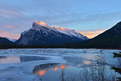 Mount Rundle and Vermilion Lakes in winter, Banff, AB. Mount Rundle and Vermilion Lakes in winter, Canadian Rockies, Canada Stock Images
