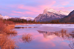 Mount Rundle and Vermilion Lakes in winter, Banff, AB Royalty Free Stock Photography