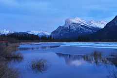 Mount Rundle and Vermilion Lakes in winter, Banff, AB. Mount Rundle and Vermilion Lakes in winter, Canadian Rockies, Canada Stock Photos