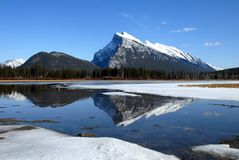 Mount Rundle and Vermilion Lakes in winter,Canadian Rockies,Canada Stock Photos