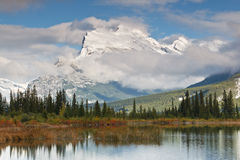 Mount Rundle and Vermillion Lake, Canada royalty free stock photos